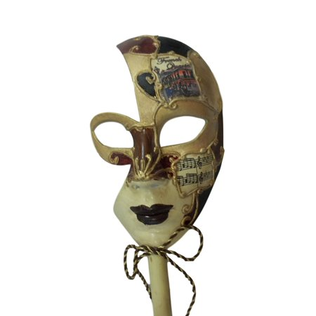 New Orleans French Quarter Venetian Stick Mask Burgundy Ladies (New Orleans Halloween French Quarter)