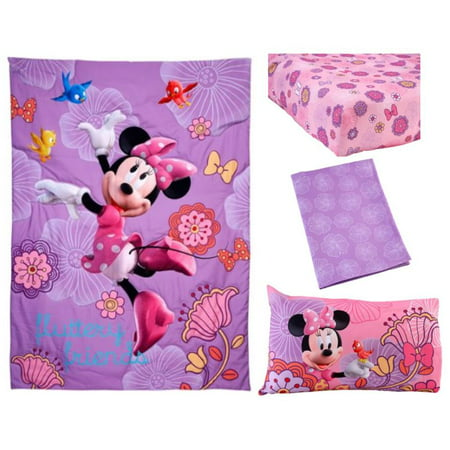 Disney Minnie Mouse 4-Piece Toddler Bedding Set Fluttery Friends (Mini Mouse Bed Set)