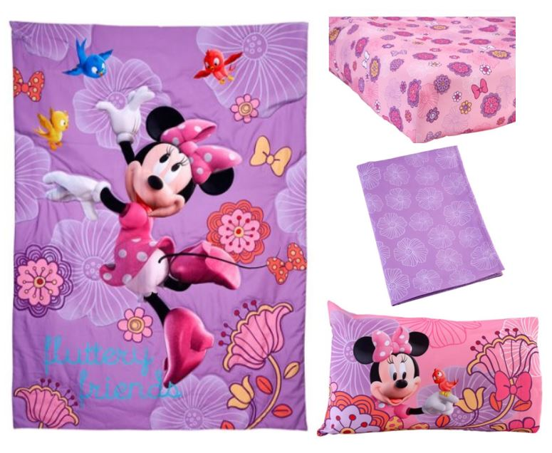 Vintage Disney Minnie Mouse Fluttery Friends Piece Toddler Bedding Set