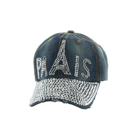 Top Headwear Studded Paris Eiffel Tower Denim Baseball Cap