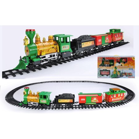 - 20-Piece Battery Operated Lighted & Animated Christmas Express Train Set with Sound