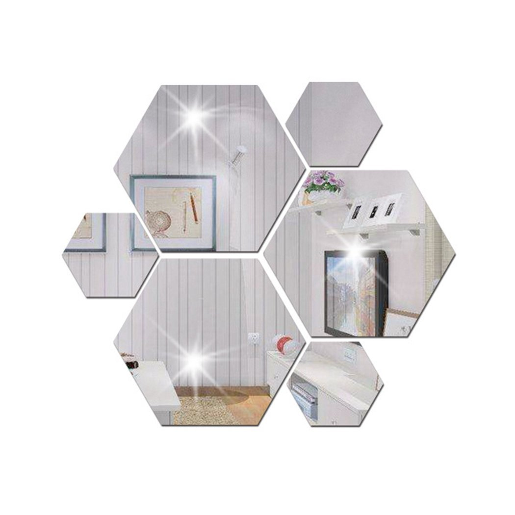 Mirror 12 Piece Hexagon Acrylic Mirror Wall Stickers Wall ...