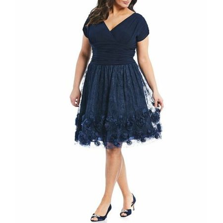 SLNY S.L. Fashions Women's Plus Cap Sleeve Ruched Rosette Dress Size 22W