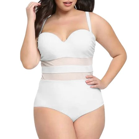 Women Vintage One-piece Push Up Paddedesh Swimsuits Curvy ...