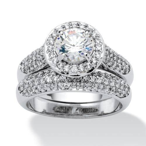 2.30 TCW Round Cubic Zirconia Pave Platinum-Plated Bridal Engagement Ring Wedding Band Set - Size 10