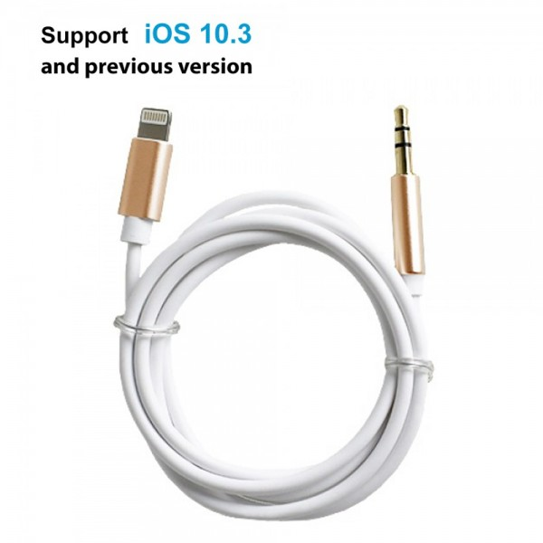 Lightning to 3.5mm Male Auxiliary Cord for iPhone 7 & 7 Plus (White/Gold)