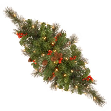 National Tree 30 inch Crestwood Spruce Centerpiece with Battery Operated Warm White LED Lights