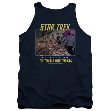 Trevco St Original The Trouble With Tribbles   Adult Tank Top   Navy  Small