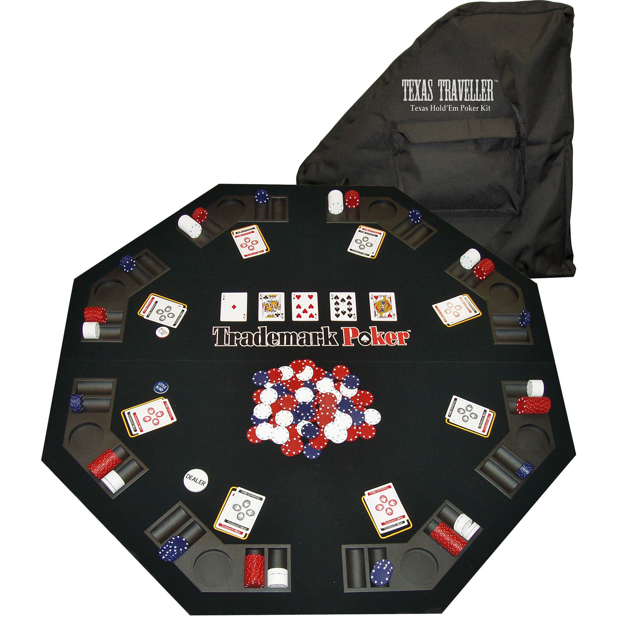 Texas Traveler Table Top & 300 Chip Travel Set