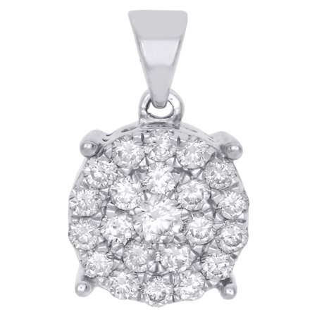 "10K White Gold Genuine Round Diamond 4 Prong Cluster Pendant 0.75"" Charm 1 CT."