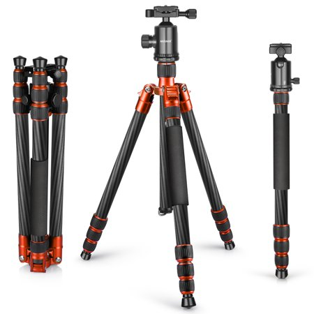 Neewer Carbon Fiber 65 inches/165 centimeters Tripod Monopod with 360 Degree Ball Head,1/4 inch Quick Shoe Plate and Bubble Level for DSLR Camera,Camcorder,Load up to 33 pounds/15