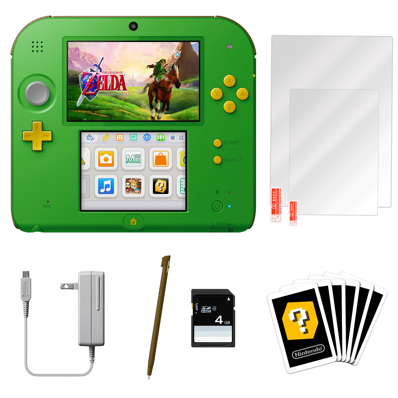 Nintendo 2DS Link Edition with The Legend of Zelda: Ocarina of Time 3D and Screen Protector