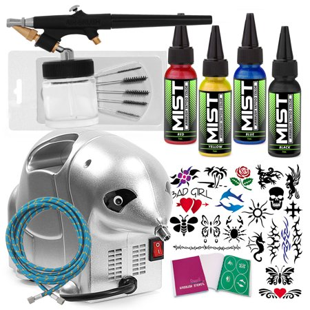 PointZero Complete Temporary Tattoo Airbrush Set - 4 Color, 20 Stencil Kit