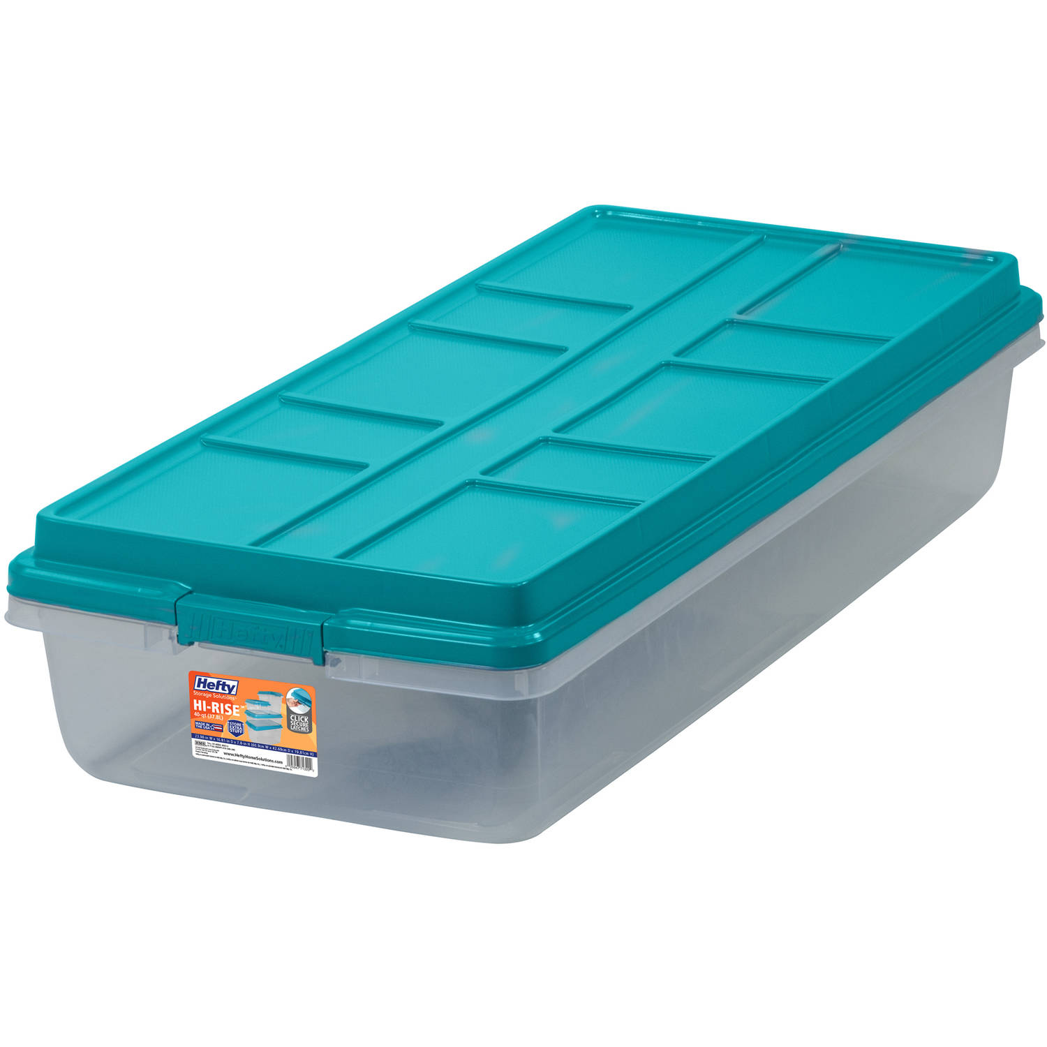 Hefty 63-Qt Hi-Rise Clear Latch Box, Teal Sachet Lid and Handles