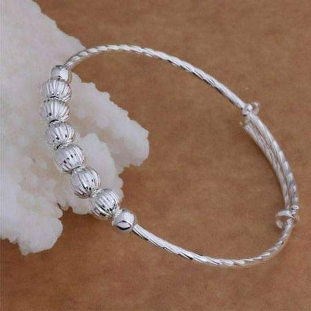 Diamond Cut Beaded Adjustable Sterling Silver Bangle Bracelet