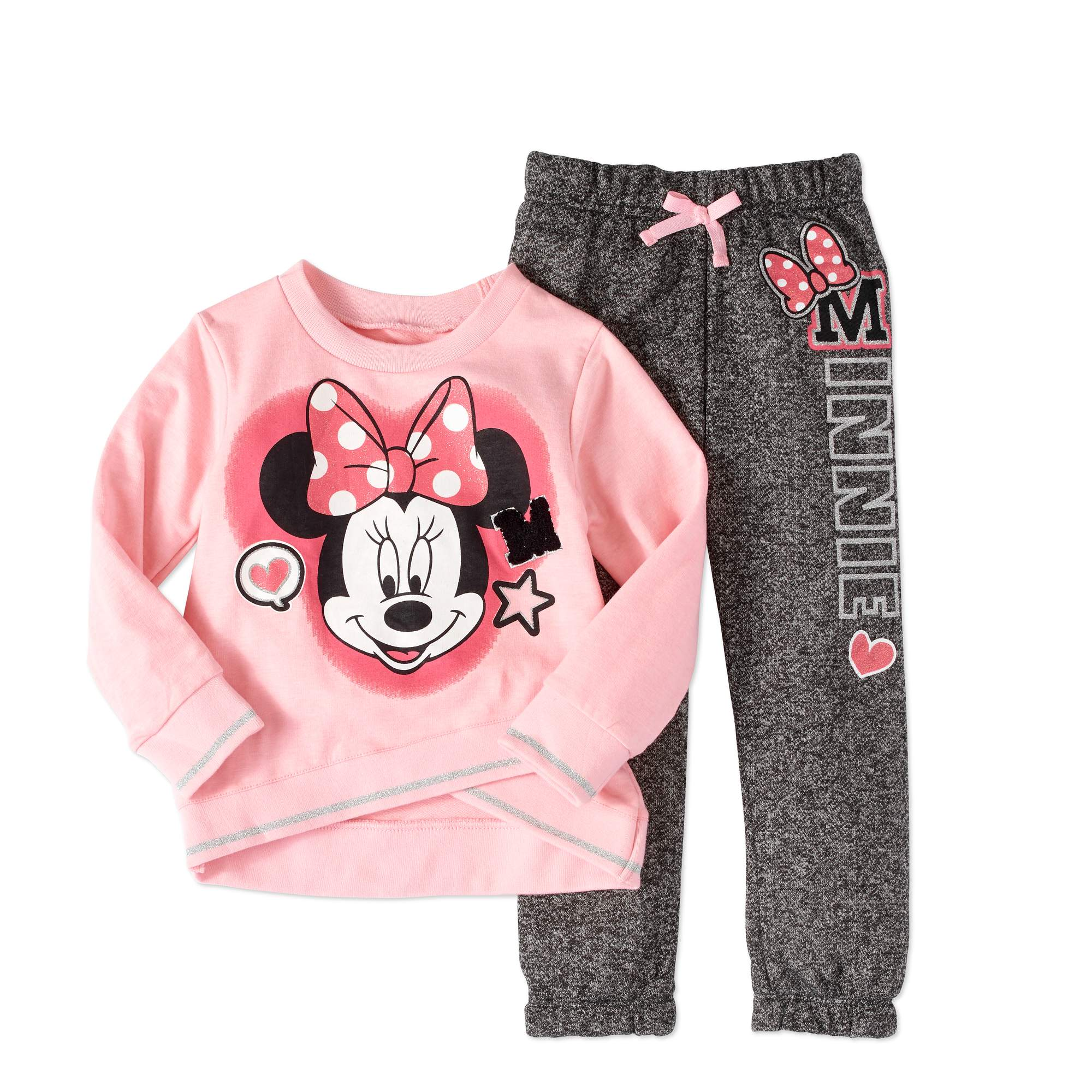 Disney Minnie Mouse Toddler Girl Fleece Jogger 2Pc Outfit Set