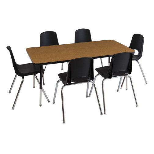 "Rectangle 30""x60"" Table & Eight 10"" Chairs-Color:Oak/Black,Leg Option:Toddler Ball"