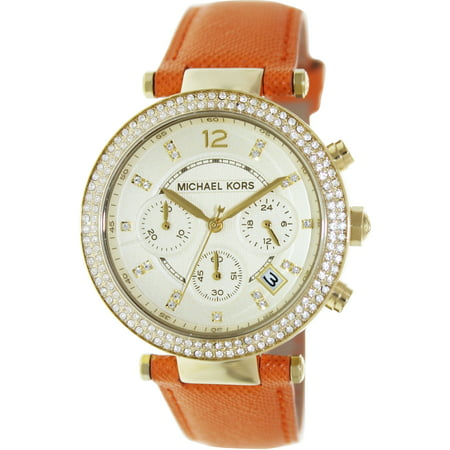 Michael Kors Women's Parker MK2279 Orange Leather Quartz Fashion Watch