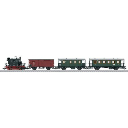 "Marklin HO Scale Steam Passenger Branch Lint Train Set (Limited Edition) DB Class 98.3 ""Glass Box"" Loco, Freight Car, Mail Car, Local Railroad Car"