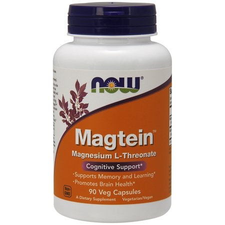NOW Supplements, Magtein™ with patented form of Magnesium (Mg), 90 Veg Capsules 300 Mg 90 Veg Caps