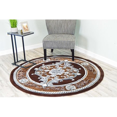 (GLAMOUR 3D Hand Carved Traditional Rug Oriental Floral 5'3''x5'3'' Round Brown Grey)