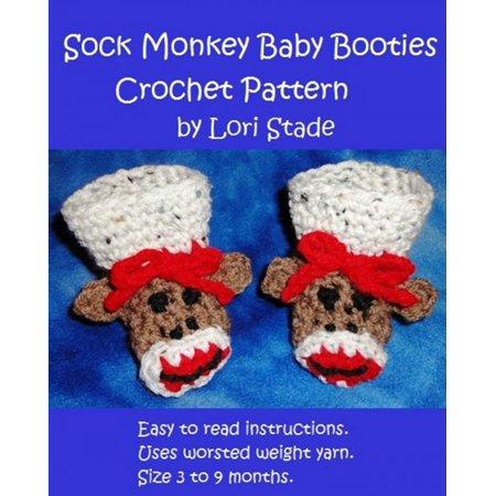 Sock Monkey Baby Booties Crochet Pattern - eBook