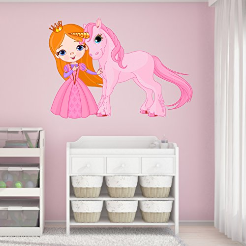 Princess and Unicorn Wall Decal - Wall Sticker, Vinyl Wall Art, Home Decor, Wall Mural - SD3057 - 16x11