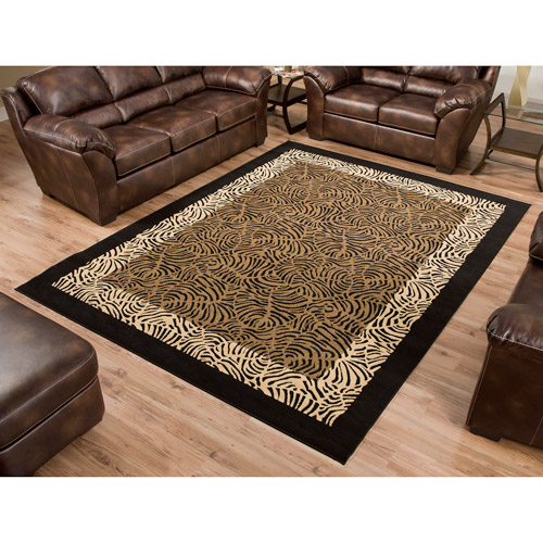 Terra Safari Woven Olefin Rug, Black/Tan