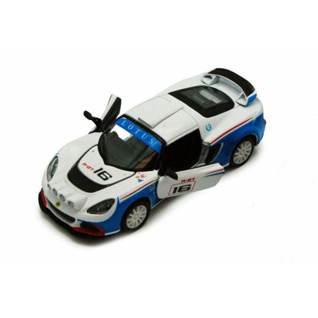 Lotus Exige Gt - 2012 Lotus Exige R-GT #16 Race Car, White & Blue - Kinsmart 5362D - 1/32 scale Diecast Model Toy Car (Brand New, but NOT IN BOX)