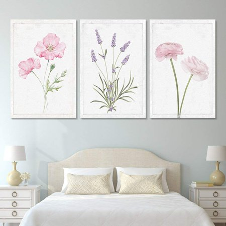 - wall26 - 3 Panel Canvas Wall Art - Hand Drawn Lavender Pink Flowers Artwork - Giclee Print Gallery Wrap Modern Home Decor Ready to Hang - 24