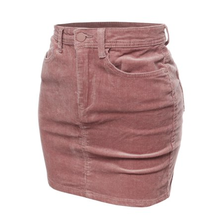 Corduroy Womens Skirt (FashionOutfit Women's Solid Corduroy High-Rise Pencil Mini Skirt )
