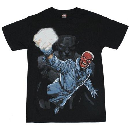 Red Skull (Marvel Comics)  Mens T-Shirt - Power Cube Brandishing Red Skull Image