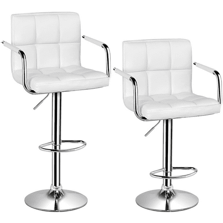 Bar Stools Set Of 2 White Adjustable Counter Stools Bar Chairs