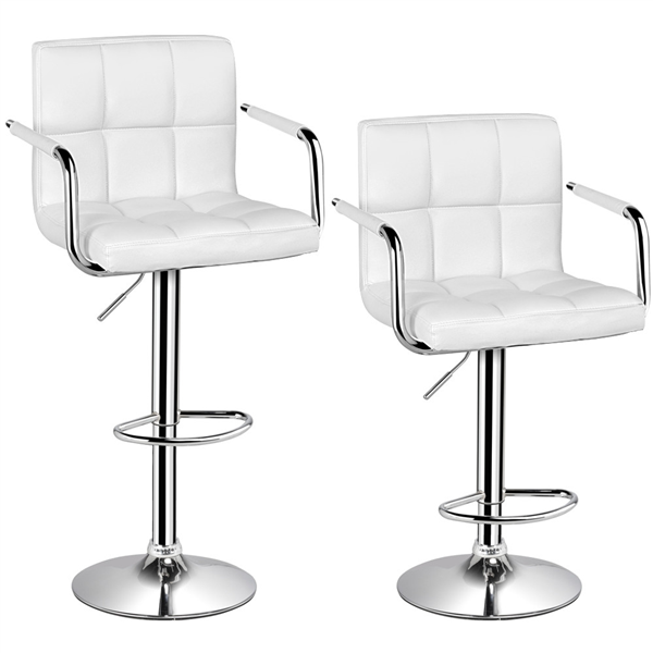 Ordinaire Bar Stools Set Of 2 White Adjustable Counter Stools Bar Chairs Synthetic  Leather Modern Design Swivel Barstools Gas Lift Stools For Kitchen Counter  ...