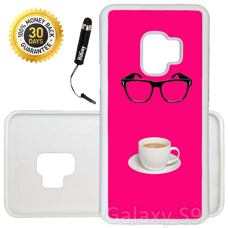 Custom Galaxy S9 Case (Glasses and a Cup of Coffee) Edge-to-Edge Rubber White Cover Ultra Slim | Lightweight | Includes Stylus Pen by Innosub