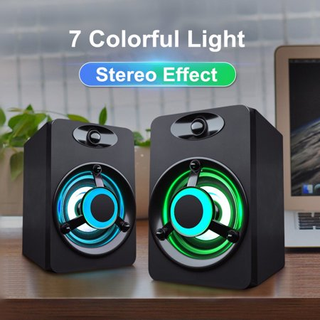 SADA Mini 2.0 Computer Speaker Colorful LED Light Heavy Bass Subwoofer USB2.0 Home Audio for Desktop PC / Laptop/ Cellphone