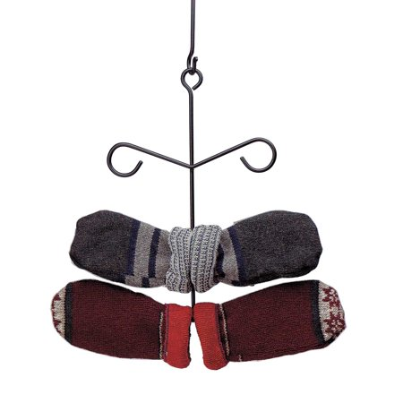 Black Iron Glove Mitten Dryer Rack Holder Wall or Ceiling Hung 6 Total Rungs ()