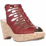 Womens Jambu Lillian Strappy Wedge Sandals - Red