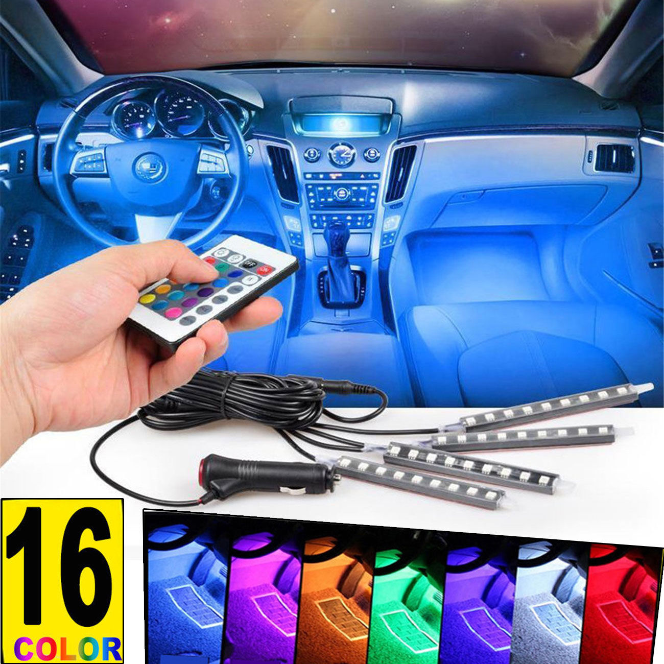 4PCS 9LED Car Interior Atmosphere Neon Lights Strip Wireless IR Remote Control