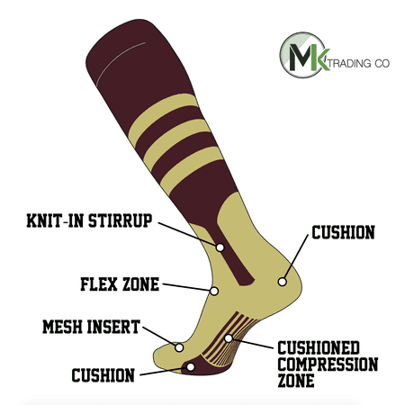 TCK Elite Baseball Knee High Stirrup Socks (B, 7in) Maroon, Vegas Gold, VG (Maroon Baseball Stirrup)