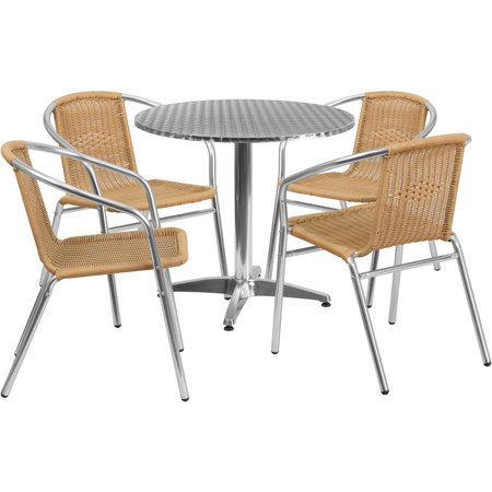 Flash Furniture 31.5\'\' Round Aluminum Indoor-Outdoor Table with 2 ...