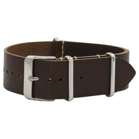 Dark Brown Vegetable Tanned Leather NATO Watchband (18, 20 & 22mm)