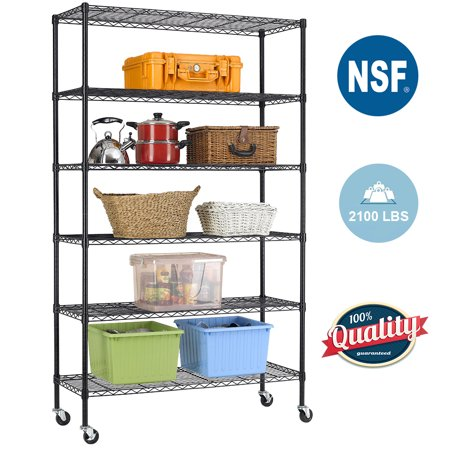 Black Commercial 6 Tier Shelf Adjustable Steel Wire Metal Shelving Rack