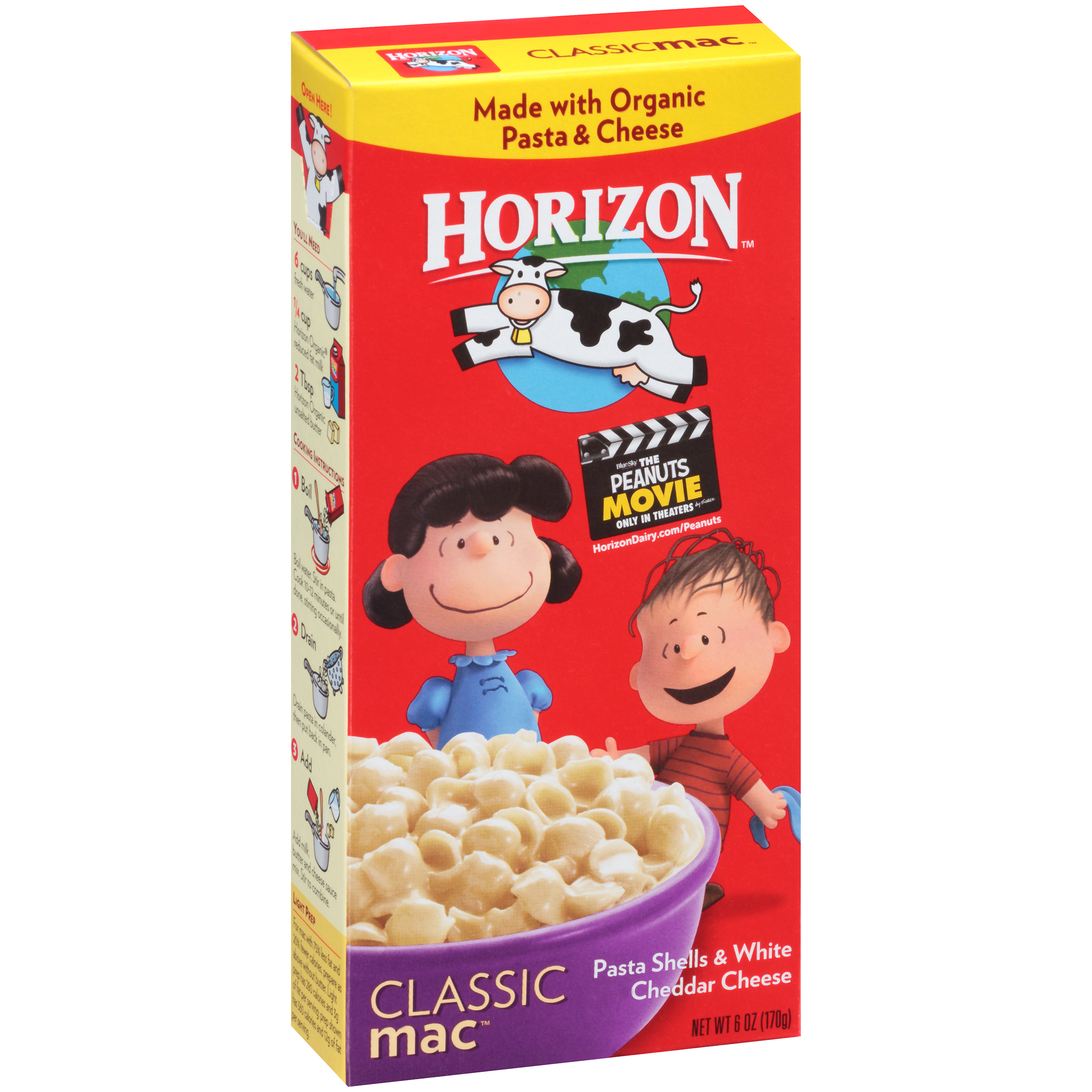 Horizon Shells & White Cheddar Cheese Mac and Cheese, 6 OZ (Pack of 12)