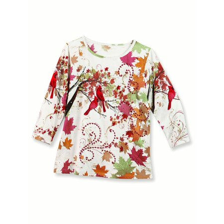 Cream Georgette Suit (Women's Embellished Fall Leaves Cardinal Sequins 3/4 Sleeve Top, Xx-Large,)