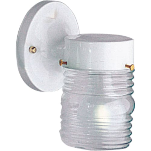 """Progress Lighting P5602 Signature 1 Light 7"""" Tall Outdoor Wall Sconce with Ribbed Jar Shade"""