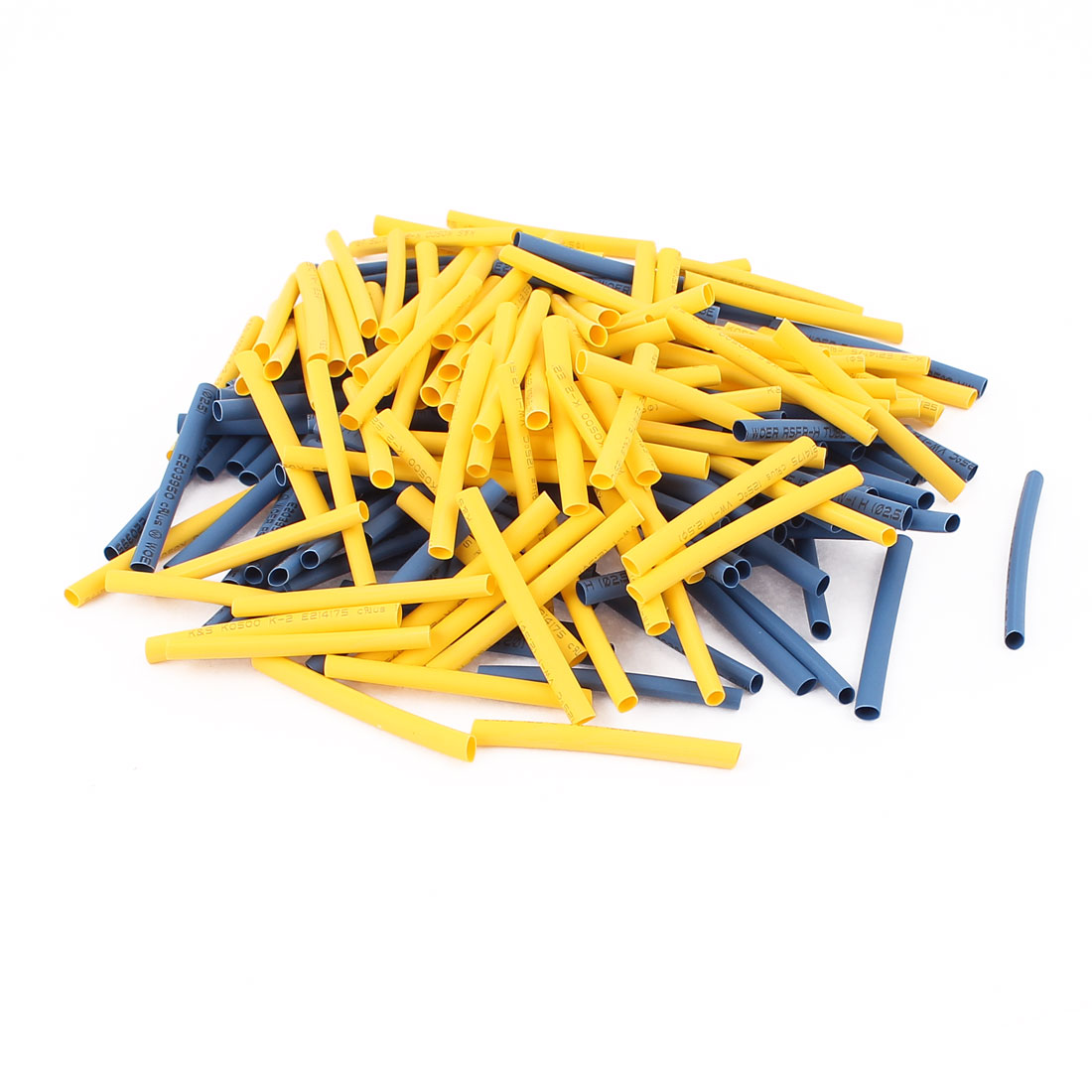 200Pcs 2.5mm 2:1 Heat Shrink Tube Sleeving Wrap Wire Kit Yellow Blue