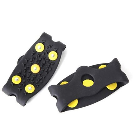 1 Pair Outdoor Simple Silicone Non Slip 5 Teeth Ice Snow Shoe Grip Cover Spike Crampon Cleat Attaches Black