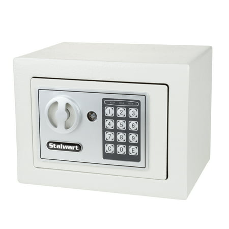 Digital Security Safe Box for Valuables- Compact Waterproof and Fireproof Steel Lock Box with Electronic Combination Keypad by Stalwart- Grey