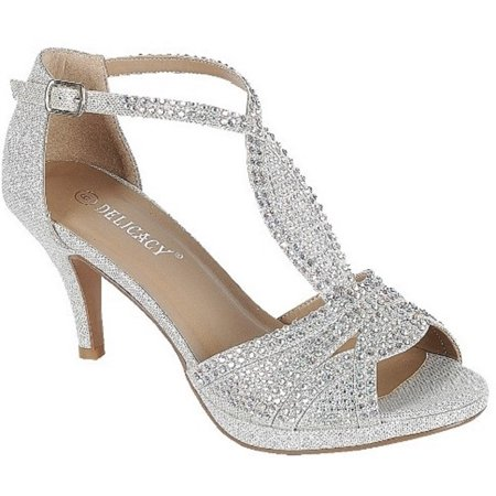- Excited-94 Women Party Evening Dress Bridal Wedding Rhinestone Platform Kitten Low Heel Sandal Shoes Silver